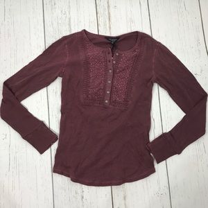 NWT Lucky Brand Burgundy Embroidered Thermal Top